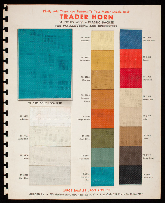 Sample pattern sheet for Gilford, Inc., 515 Madison Ave., New York 22, New York