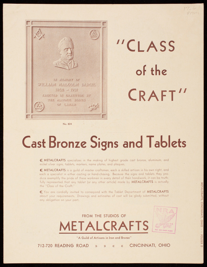 Class of the craft, cast bronze signs and tablets, from the studios of Metalcrafts, 715-720 Reading Road, Cincinnati, Ohio