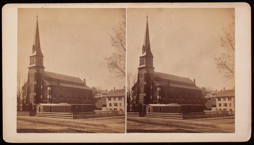 Exterior view of catholic church, Woburn, Mass.