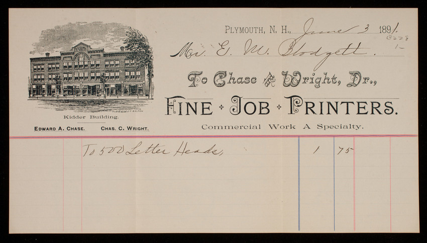Billhead for Chase and Wright, Dr., fine job printers, Plymouth, New Hampshire, dated June 3, 1891