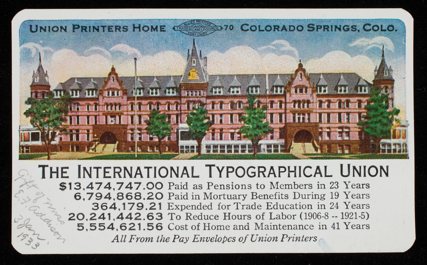 Trade card, International Typographical Union, Lynn Typographical Union No. 120, Lynn, Mass.