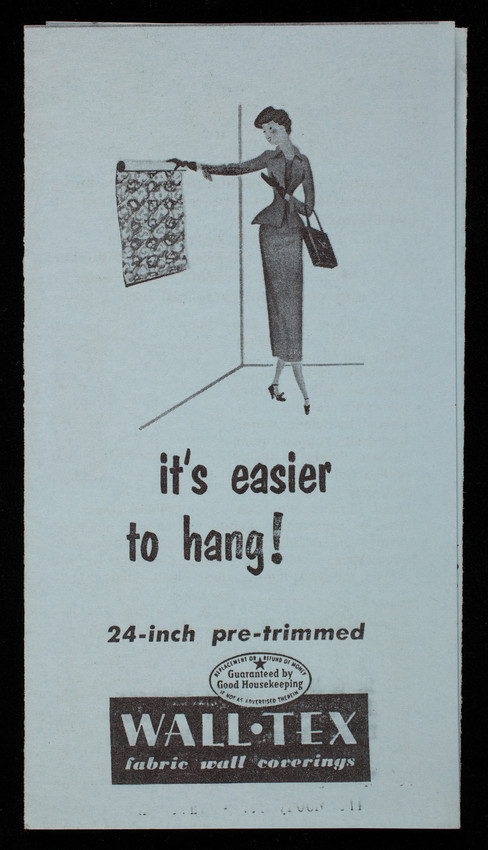 It's easier to hang! 24-inch pre-trimmed Wall-Tex fabric wall coverings, Columbus Coated Fabrics Corporation, Columbus, Ohio