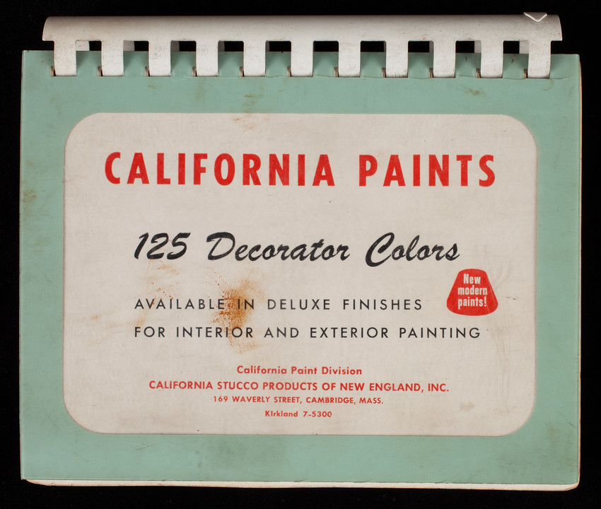 California paints, 125 decorator colors, California Paint Division, California Stucco Products of New England, Inc., 169 Waverly Street, Cambridge, Mass.
