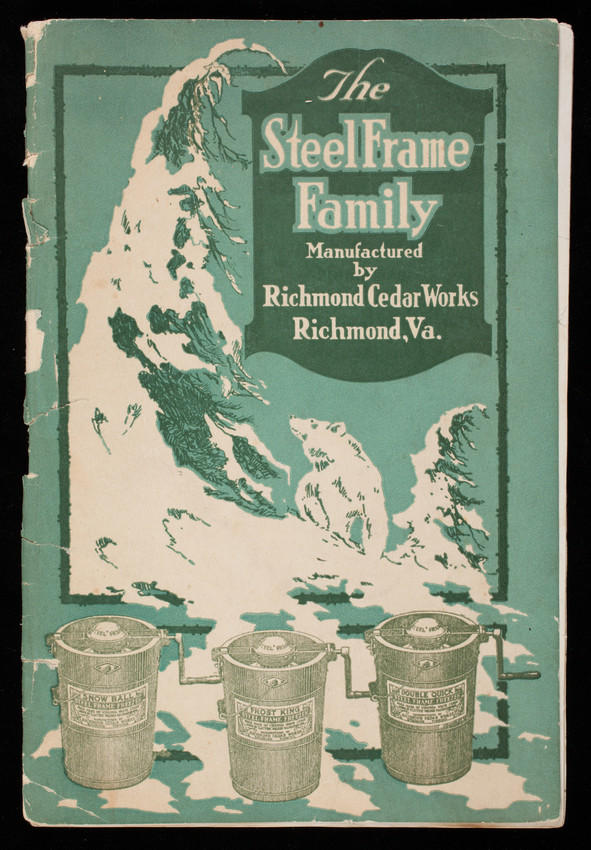 Story of the steel frame family of ice cream freezers made of Virginia white cedar, by Richmond Cedar Works at its woodworking plant, Richmond, Virginia
