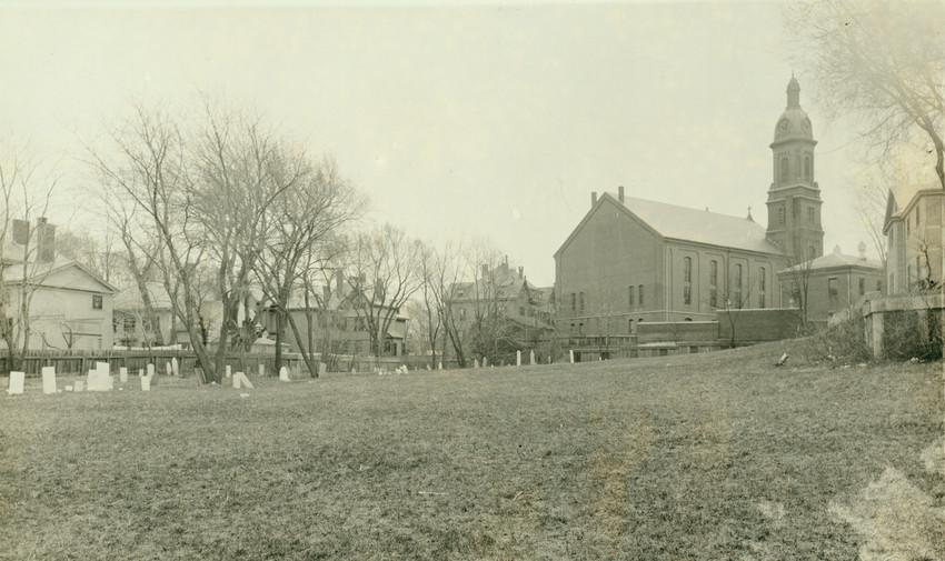 Methodist Church and playground of Roxbury Latin School with view of burial ground off Kearsarge Ave., Roxbury, Mass.