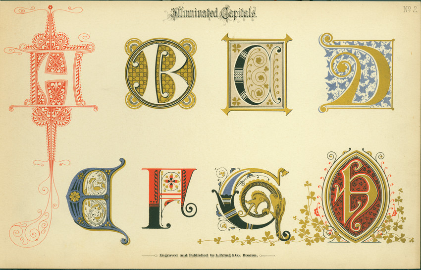 Printing example of illuminated capital letters, no. 2, as produced by Louis Prang, Boston, Mass., undated