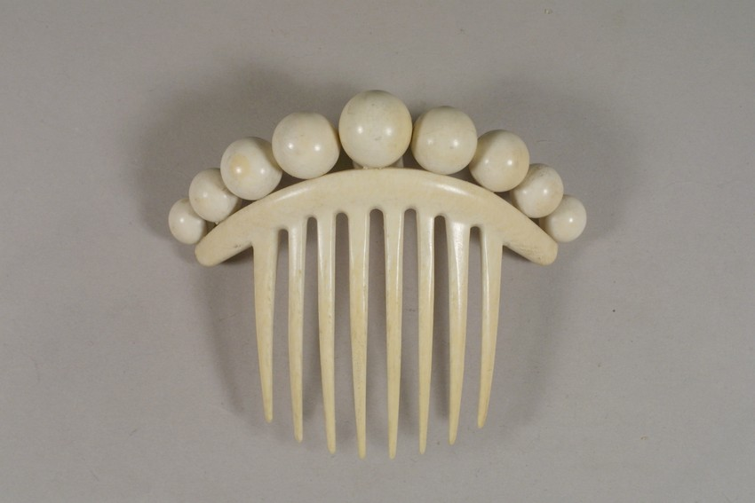 1860s Ivory hair comb, from Historic New England.