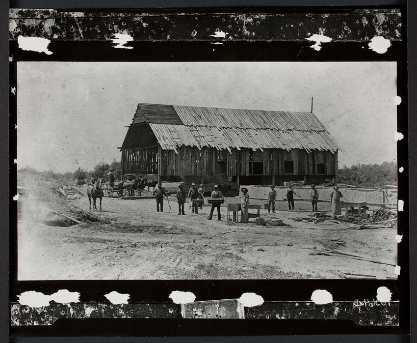 Old brickyard & men, Boylston, Mass.