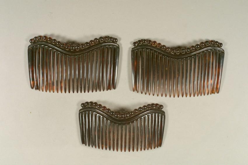 Set of tortoiseshell side combs, c. 1860-1880, Historic New England