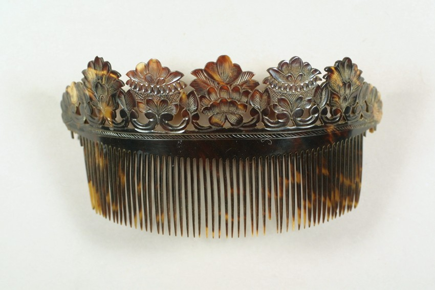 19th century tortoiseshell side comb from Historic New England