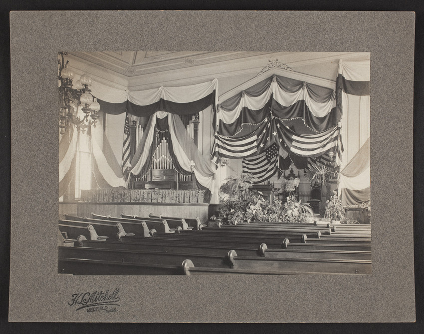 Interior view of a Unitarian Church, Medfield, Mass., June 6, 1901