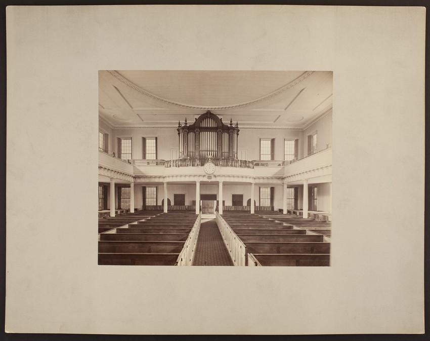 Interior view of West Church facing pipe organ, 131 Cambridge Street