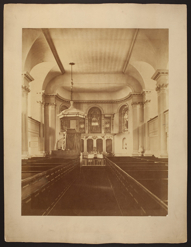 Interior view of King's Chapel facing altar and pulpit