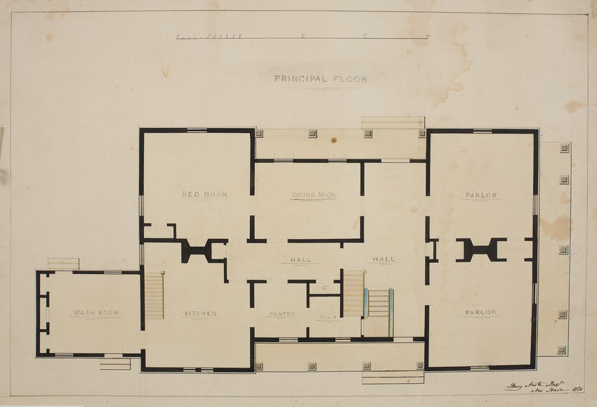 Principal floor plan of an unidentified house location for Territorial house plans