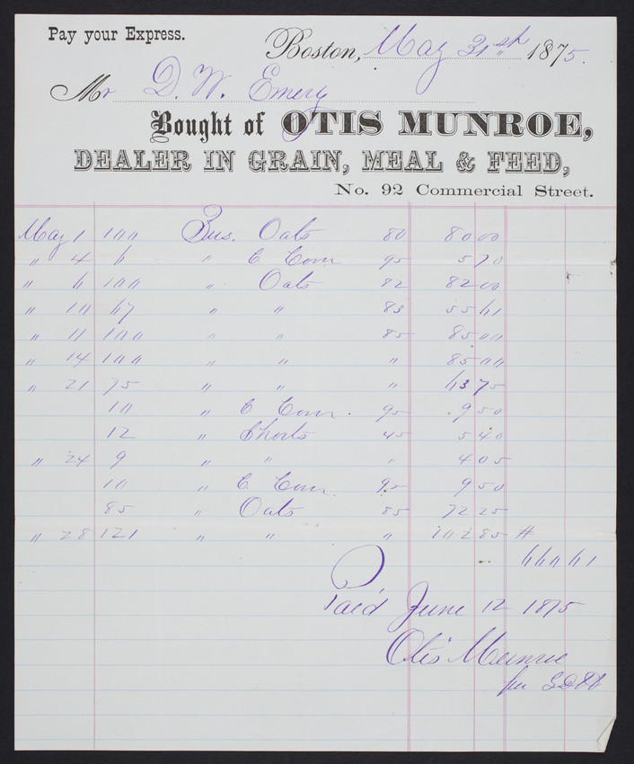 Billhead For Otis Munroe Dealer In Grain Meal Feed No 92