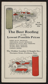 Best Roofing At The Lowest Possible Prices, Webber Lumber U0026 Supply Co.,  Thompson Street, Fitchburg, Mass., 1924 | Historic New England