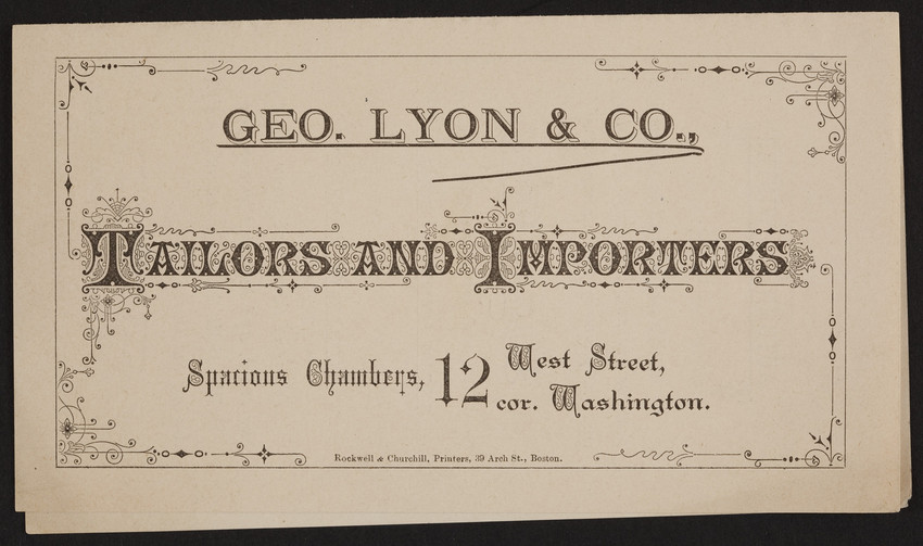 Leaflet for Geo  Lyon & Co , tailors and importers, 12 West