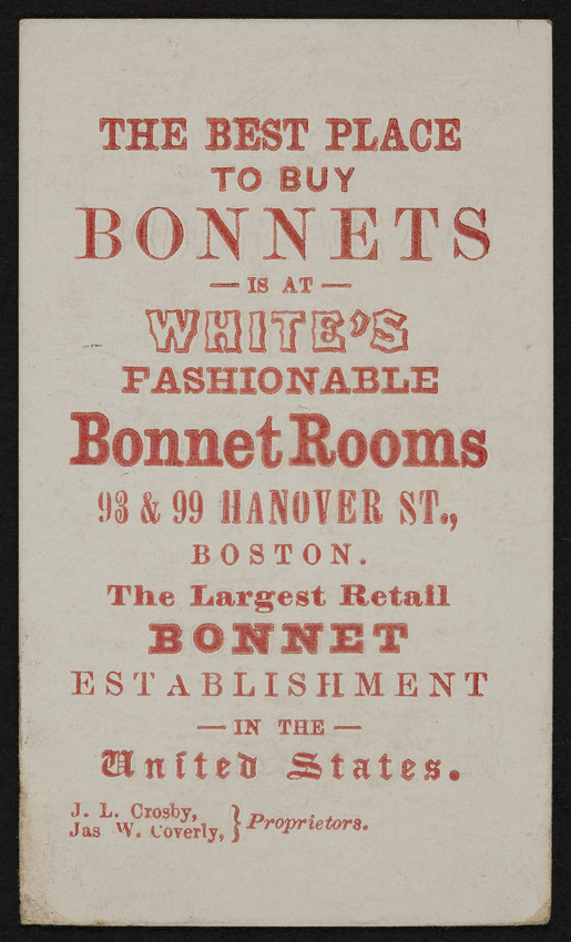 Trade Card For Whites Fashionable Bonnet Rooms 93 99 Hanover