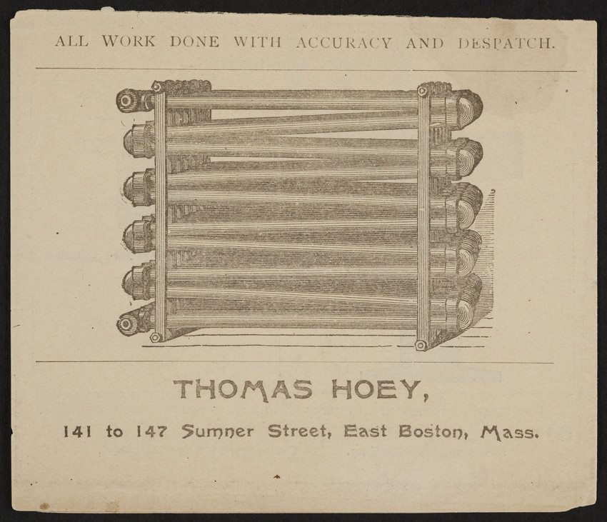 Advertisement for Thomas Hoey, plumbers' steam and gas
