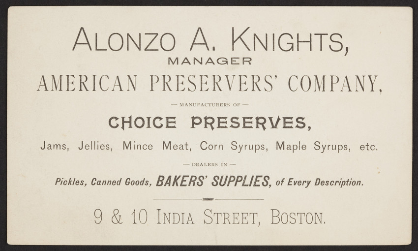 Business card for alonzo a knights manager american preservers collection type colourmoves