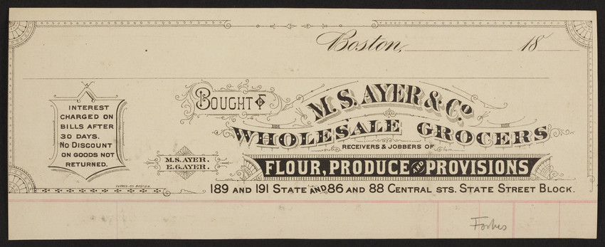Billhead for M S  Ayer & Co , wholesale grocers, 189 and 191