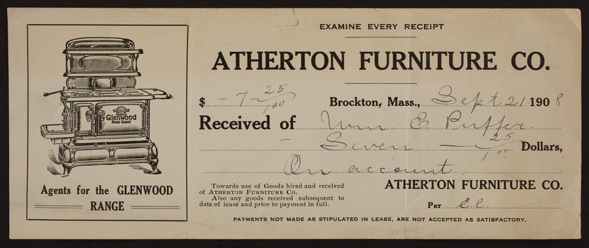 receipt for the atherton furniture co furniture leasing brockton