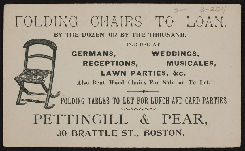Trade Card For Pettingill Pear Folding Chairs To Loan 30 Brattle Street Boston Mass Undated Historic New England