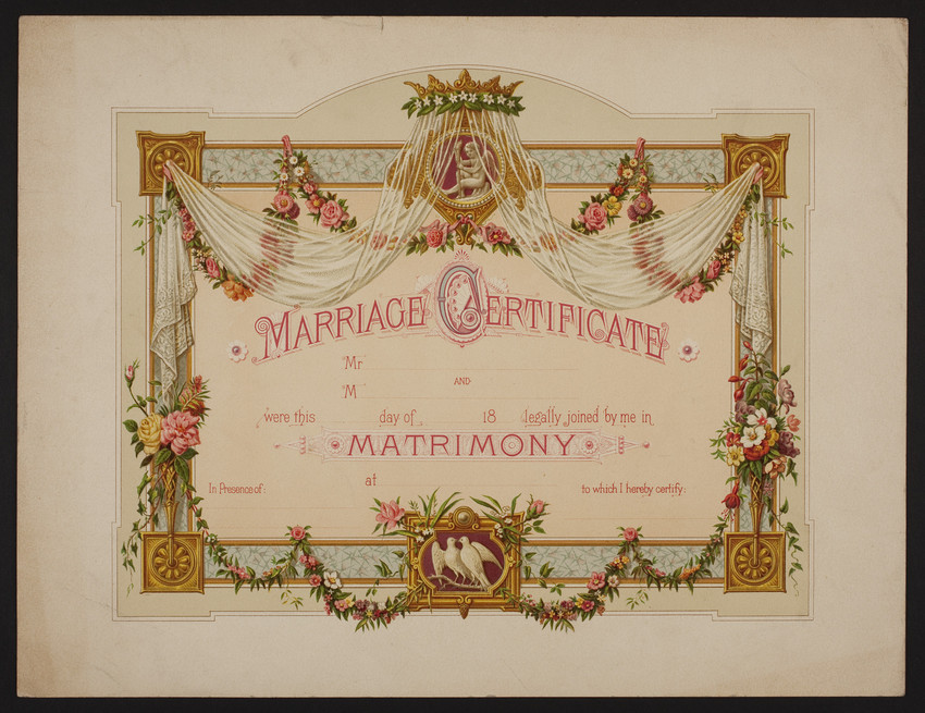 Blank Marriage Certificates Undated Historic New England