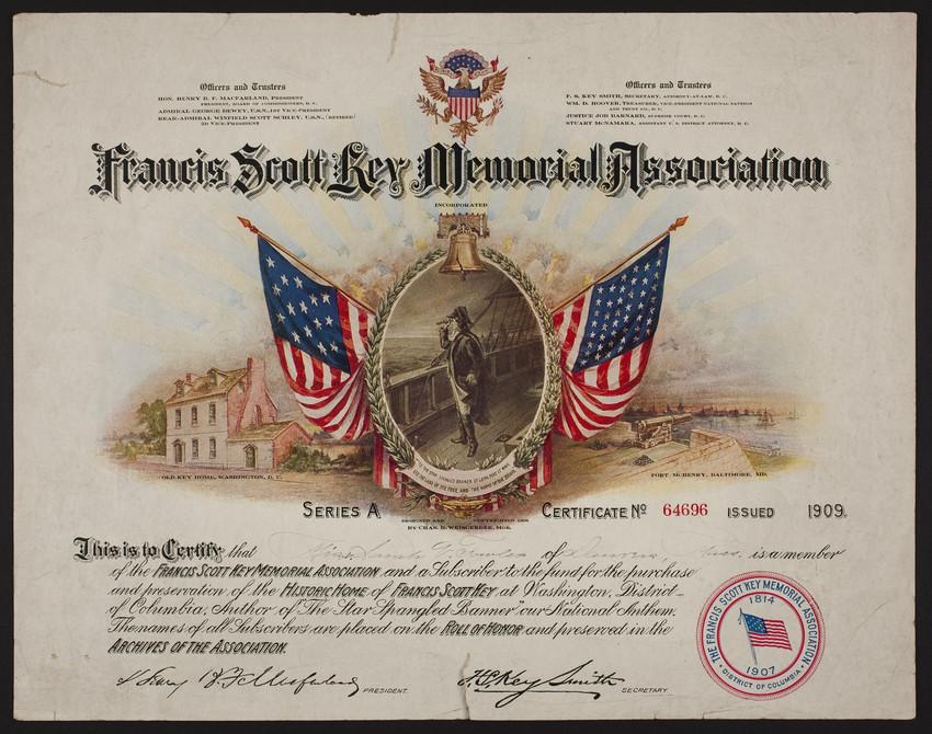 francis scott key memorial association certificate