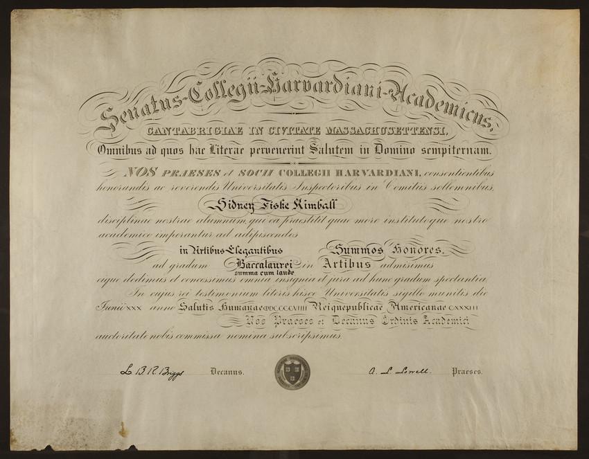 Harvard University diploma, 1909