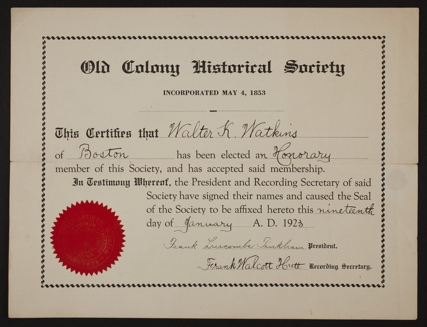 Old Colony Historical Society Membership Certificate Historic New