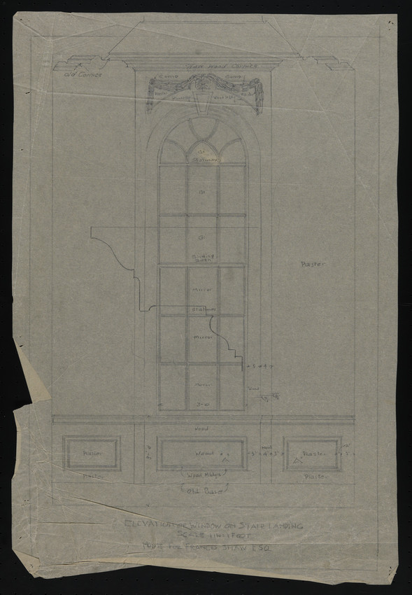 Elevation of Window on Stair Landing, House for Francis Shaw, Esq