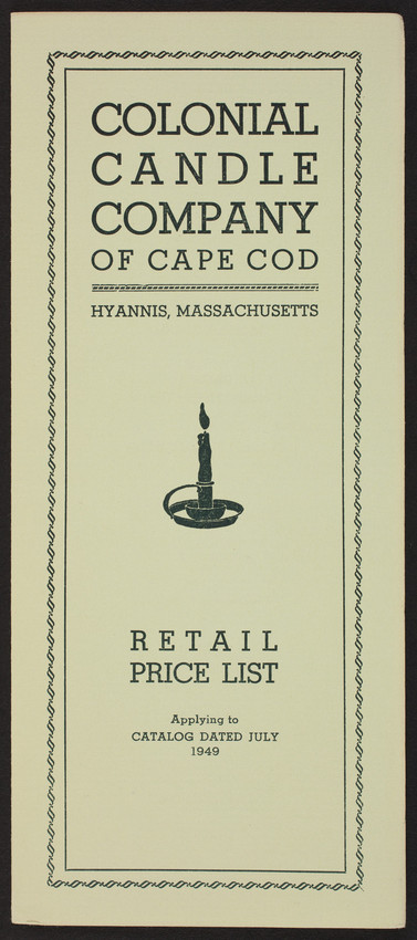 retail price list for the colonial candle company of cape cod