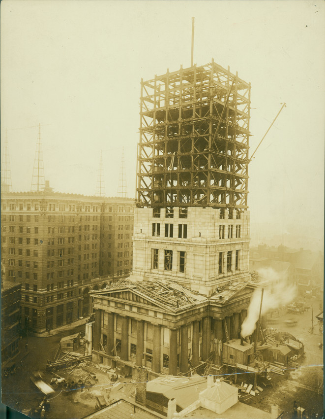 Construction Of The New Custom House Tower State Street Boston Mass Ca 1913 Historic New England