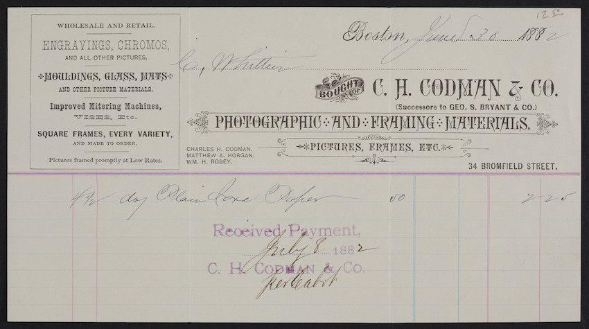 Billhead for C.H. Codman & Co., photographic and framing materials ...