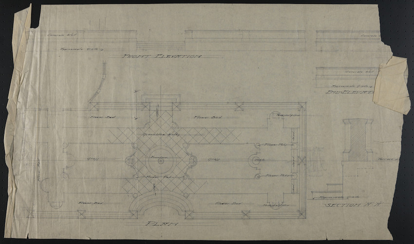 Sheet with Front Elevation, Plan, Section A-A and End