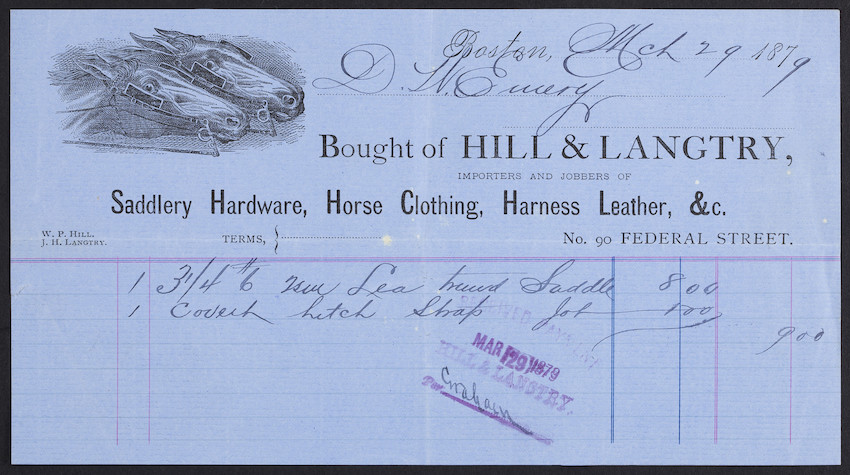 Billhead for Hill & Langtry, importers and jobbers of