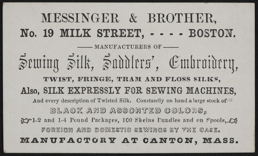 Trade card for Messinger & Brother, manufacturers of sewing silk