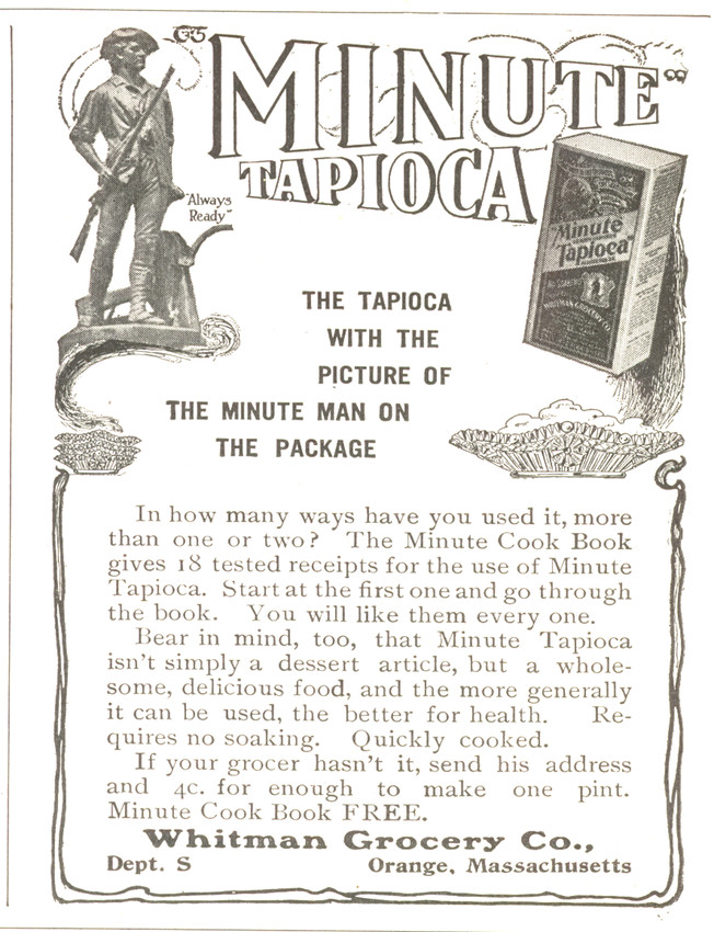Advertisement For Minute Tapioca For Whitman Grocery