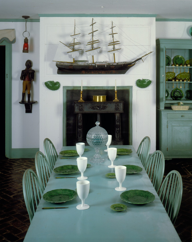 Interior View Of Golden Step Room Dining Table With Model Ship Over Fireplace Beauport Sleeper McCann House Gloucester Mass