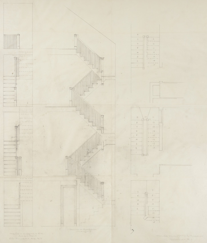 Back stair plan and elevation, residence of Mrs  Charles C