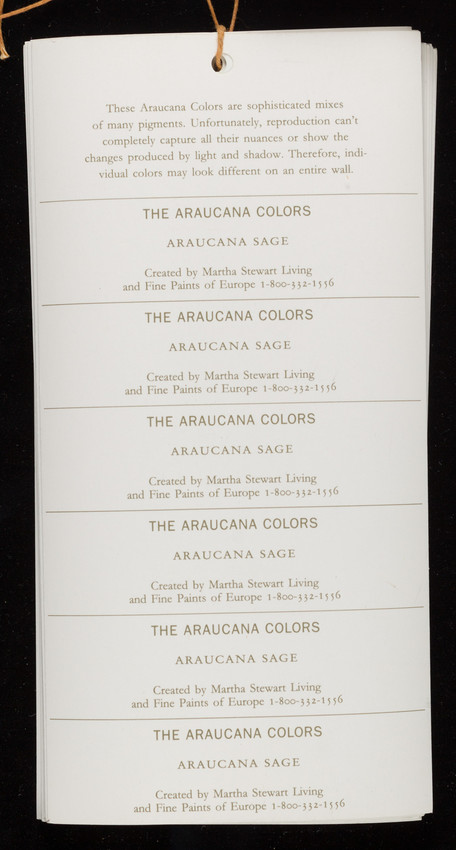 Araucana Colors Created By Martha Stewart Living And Fine Paints Of Europe New York New York And Woodstock Vermont Historic New England