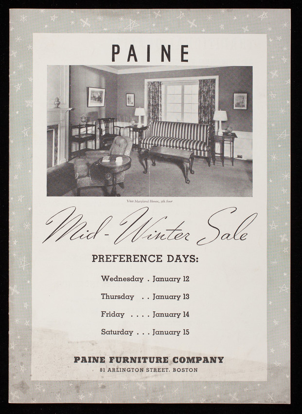 Paine Mid Winter Sale Paine Furniture Company 81 Arlington Street