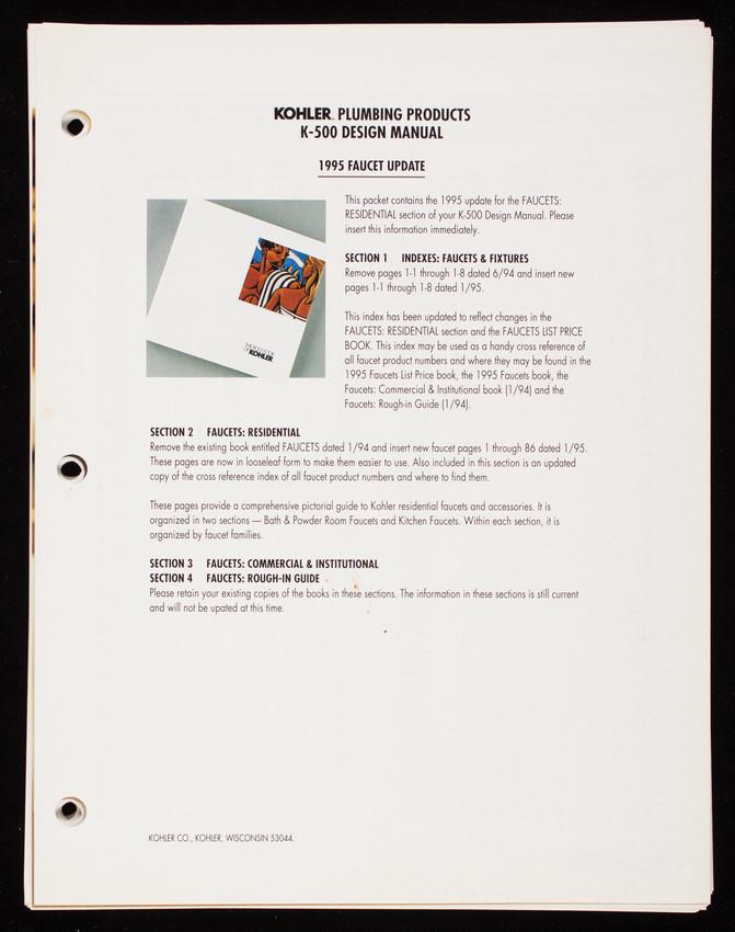 Bold look of Kohler, Kohler plumbing products K-500 design manual ...