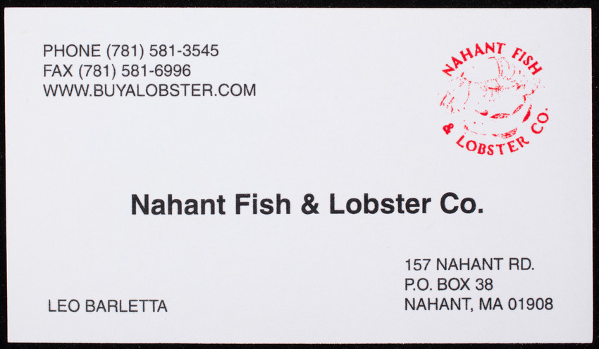 Business card for the nahant fish lobster co 157 nahant road collection type reheart Images