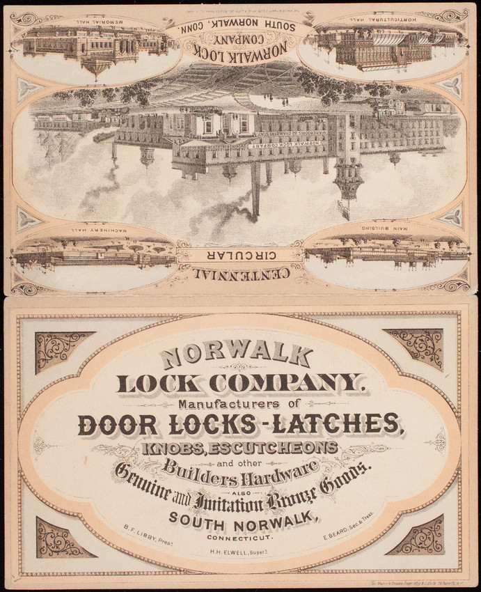 Trade Card Norwalk Lock Company Manufacturers Of Door Locks Latches Knobs Escutcheons And
