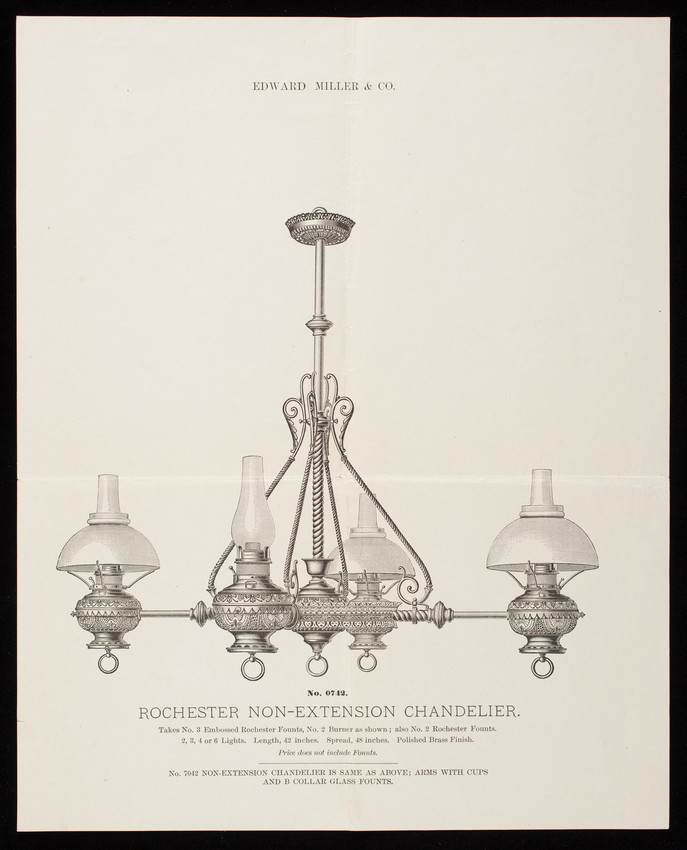 Western Chandelier Co: Sheet, No. 0742 Rochester Non-Extension Chandelier, Edward
