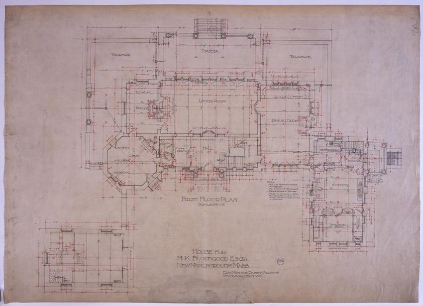 First Floor Plan Of H.K. Bloodgood House, New Marlborough