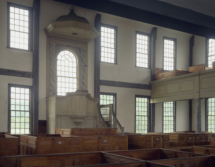 Interior View Rocky Hill Meeting House Amesbury Mass Historic