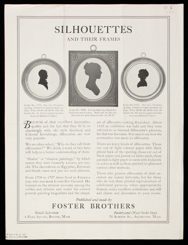 Silhouettes and their frames, published and made by Foster Brothers ...
